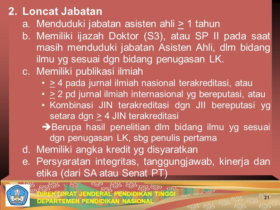 DIREKTORAT JENDERAL PENDIDIKAN TINGGI DEPARTEMEN PENDIDIKAN NASIONAL 21 2.
