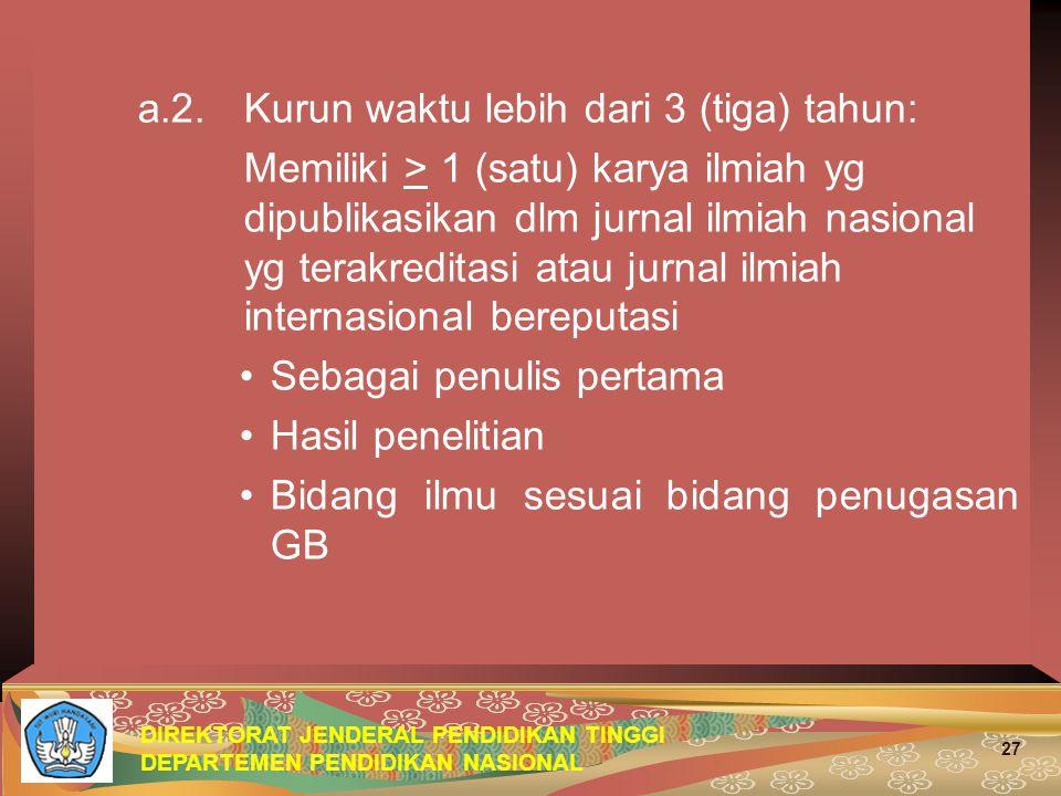 DIREKTORAT JENDERAL PENDIDIKAN TINGGI DEPARTEMEN PENDIDIKAN NASIONAL 27 a.2.