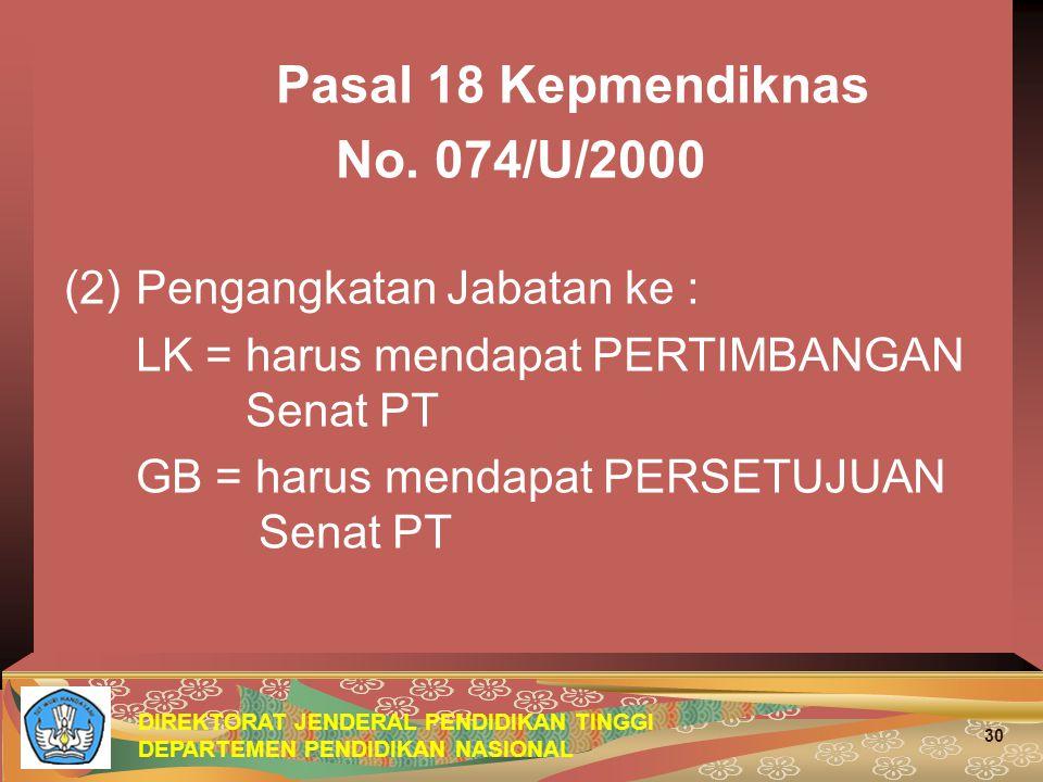 DIREKTORAT JENDERAL PENDIDIKAN TINGGI DEPARTEMEN PENDIDIKAN NASIONAL 30 Pasal 18 Kepmendiknas No. 074/U/2000 (2)Pengangkatan Jabatan ke : LK = harus m