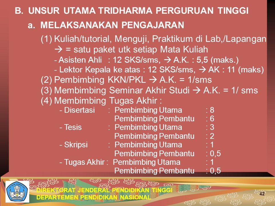 DIREKTORAT JENDERAL PENDIDIKAN TINGGI DEPARTEMEN PENDIDIKAN NASIONAL 42 B.UNSUR UTAMA TRIDHARMA PERGURUAN TINGGI (1)Kuliah/tutorial, Menguji, Praktiku