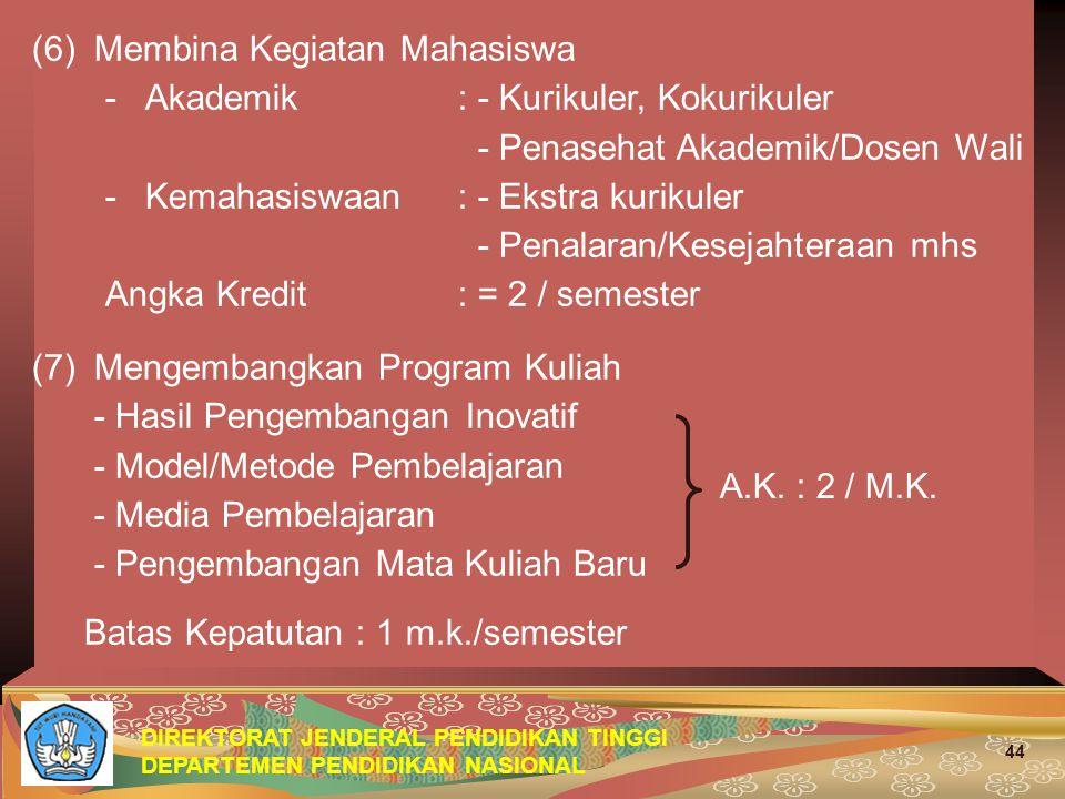 DIREKTORAT JENDERAL PENDIDIKAN TINGGI DEPARTEMEN PENDIDIKAN NASIONAL 44 (6) Membina Kegiatan Mahasiswa -Akademik : - Kurikuler, Kokurikuler - Penasehat Akademik/Dosen Wali -Kemahasiswaan : - Ekstra kurikuler - Penalaran/Kesejahteraan mhs Angka Kredit: = 2 / semester (7) Mengembangkan Program Kuliah - Hasil Pengembangan Inovatif - Model/Metode Pembelajaran - Media Pembelajaran - Pengembangan Mata Kuliah Baru Batas Kepatutan : 1 m.k./semester A.K.