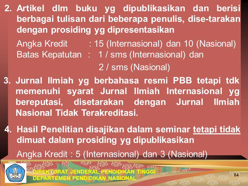 DIREKTORAT JENDERAL PENDIDIKAN TINGGI DEPARTEMEN PENDIDIKAN NASIONAL 64 2.Artikel dlm buku yg dipublikasikan dan berisi berbagai tulisan dari beberapa