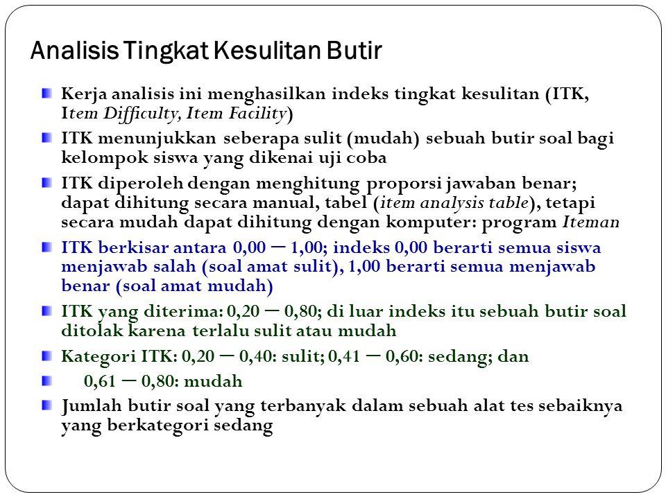 Analisis Butir Soal (Item Analysis) Analisis butir soal adalah estimasi kualitas butir-butir soal sebuah alat tes; menguji efektivitas butir-butir soa