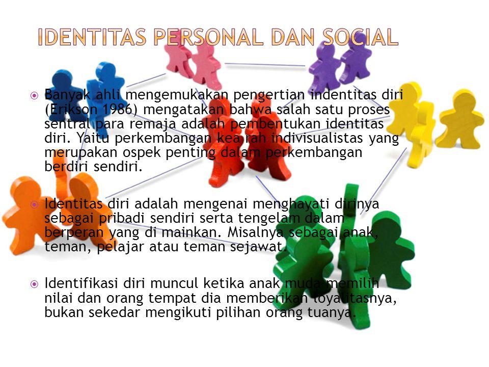  Banyak ahli mengemukakan pengertian indentitas diri (Erikson 1986) mengatakan bahwa salah satu proses sentral para remaja adalah pembentukan identit