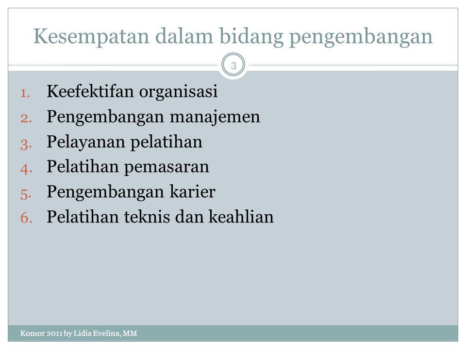 Kesempatan dalam bidang pengembangan 1. Keefektifan organisasi 2.