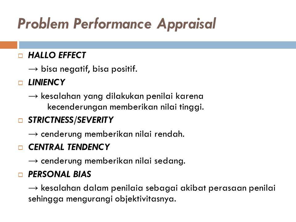 Problem Performance Appraisal  HALLO EFFECT → bisa negatif, bisa positif.  LINIENCY → kesalahan yang dilakukan penilai karena kecenderungan memberik