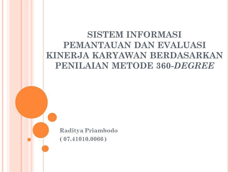 SISTEM INFORMASI PEMANTAUAN DAN EVALUASI KINERJA KARYAWAN BERDASARKAN PENILAIAN METODE 360- DEGREE Raditya Priambodo ( 07.41010.0066 )