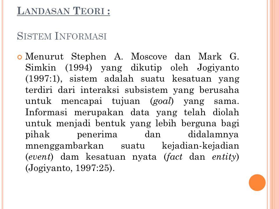 L ANDASAN T EORI : S ISTEM I NFORMASI Menurut Stephen A. Moscove dan Mark G. Simkin (1994) yang dikutip oleh Jogiyanto (1997:1), sistem adalah suatu k