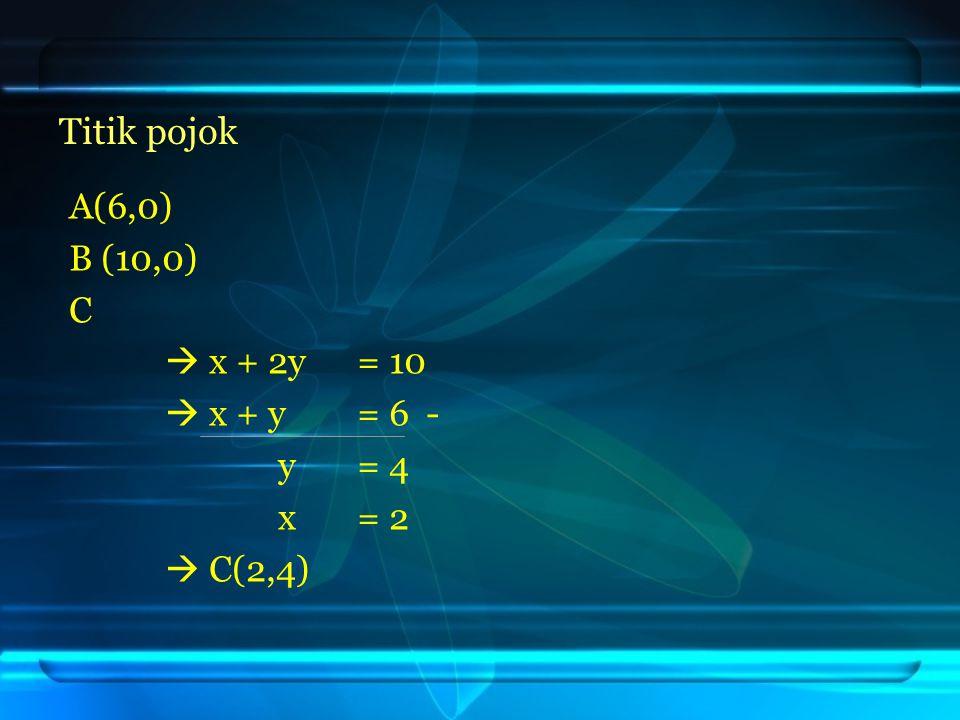A(6,0) B (10,0) C  x + 2y = 10  x + y = 6 - y= 4 x= 2  C(2,4) Titik pojok