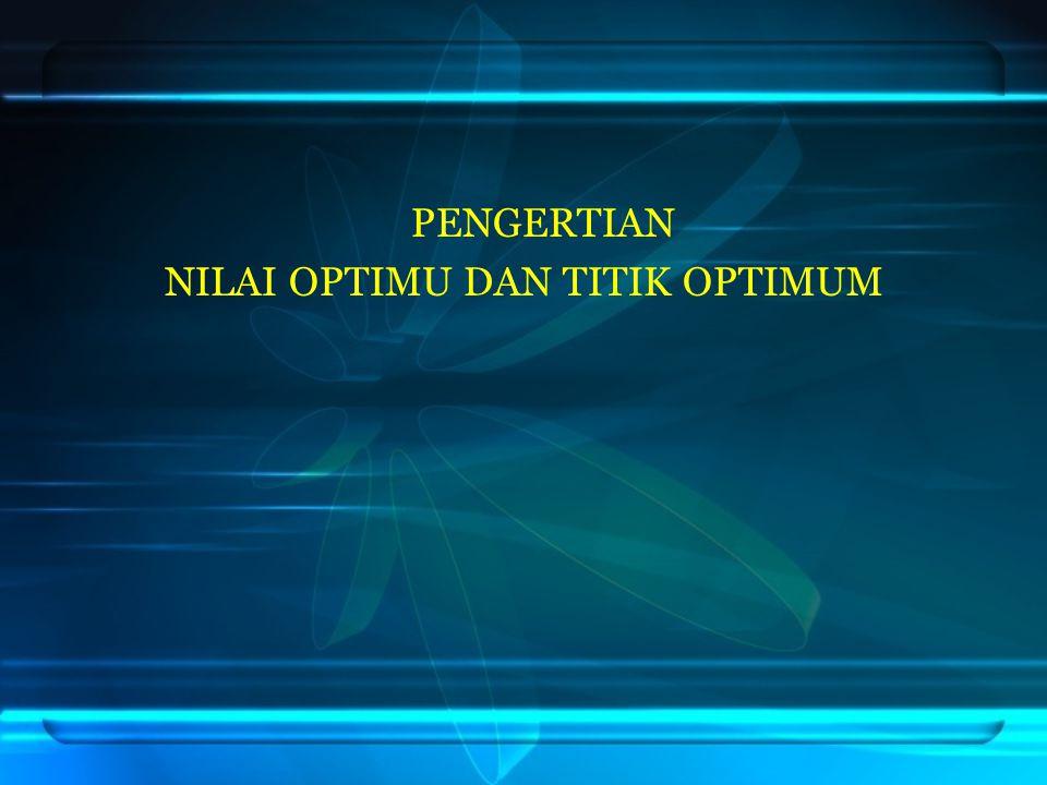 Titik optimum adalah titik-titik pojok daerah himpunan penyelesaian yang mengakibatkan fungsi objektif bernilai optimum (minimum atau maximum).