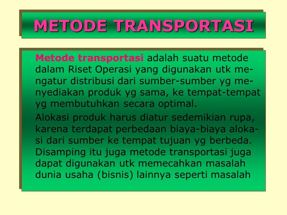 METODE TRANSPORTASI Metode transportasi adalah suatu metode dalam Riset Operasi yang digunakan utk me- ngatur distribusi dari sumber-sumber yg me- nyediakan produk yg sama, ke tempat-tempat yg membutuhkan secara optimal.