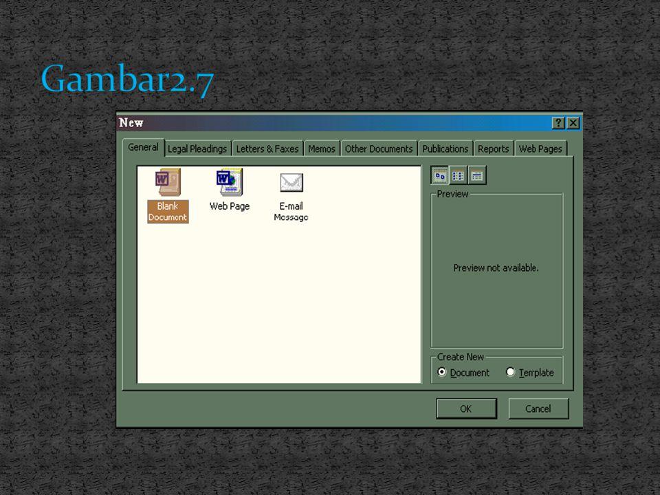 caranya untuk membuka lembar kerja yang baru Ada dua cara, yaitu ; 1. Mengaktifkan Word 2000 dari menu Start (lihat sub menu memulai Word 2000 diatas)