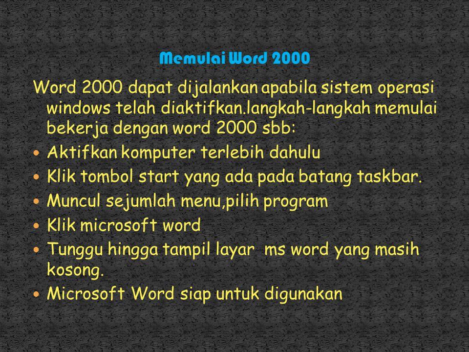 Word 2000 dapat dijalankan apabila sistem operasi windows telah diaktifkan.langkah-langkah memulai bekerja dengan word 2000 sbb: Aktifkan komputer terlebih dahulu Klik tombol start yang ada pada batang taskbar.