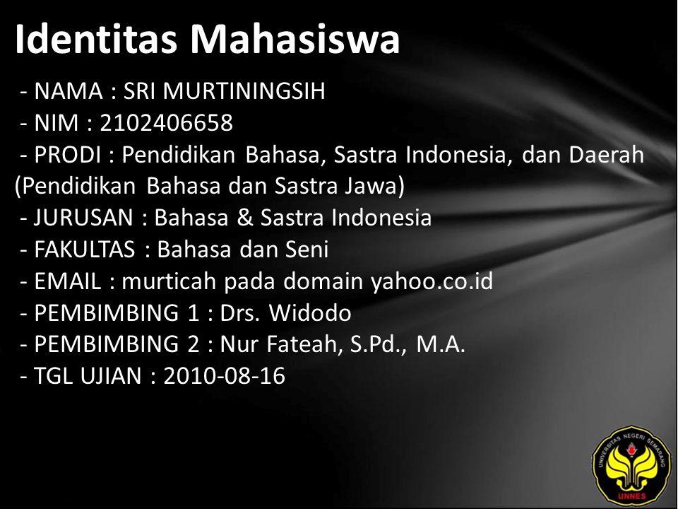 Identitas Mahasiswa - NAMA : SRI MURTININGSIH - NIM : 2102406658 - PRODI : Pendidikan Bahasa, Sastra Indonesia, dan Daerah (Pendidikan Bahasa dan Sast