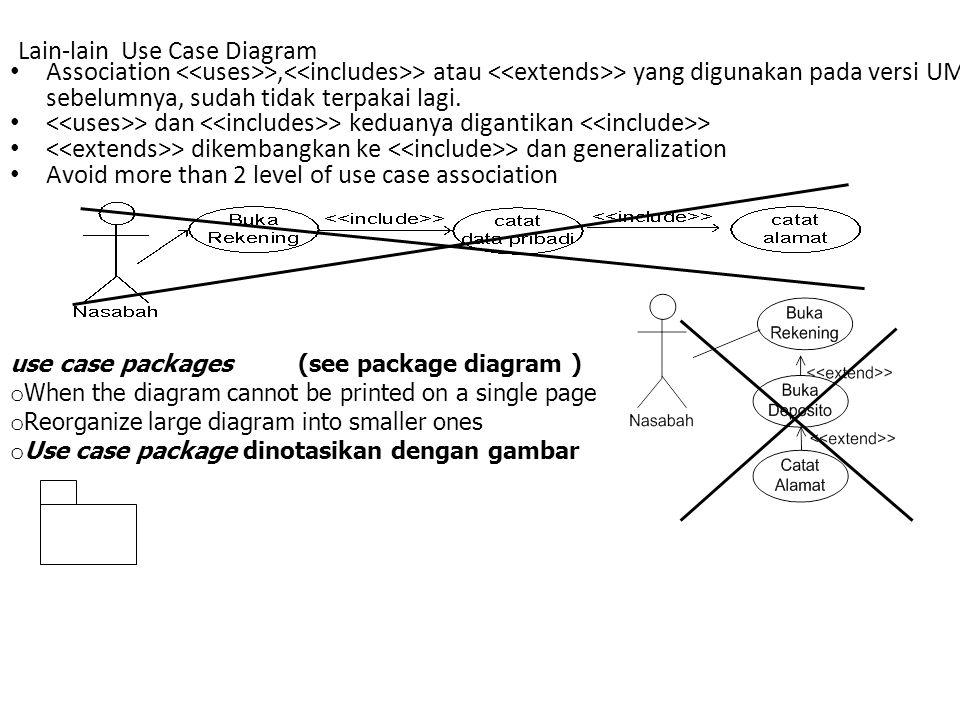 Lain-lain Use Case Diagram Association >, > atau > yang digunakan pada versi UML sebelumnya, sudah tidak terpakai lagi. > dan > keduanya digantikan >