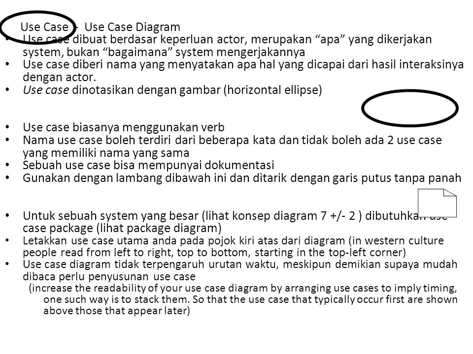 """Use case dibuat berdasar keperluan actor, merupakan """"apa"""" yang dikerjakan system, bukan """"bagaimana"""" system mengerjakannya Use case diberi nama yang me"""