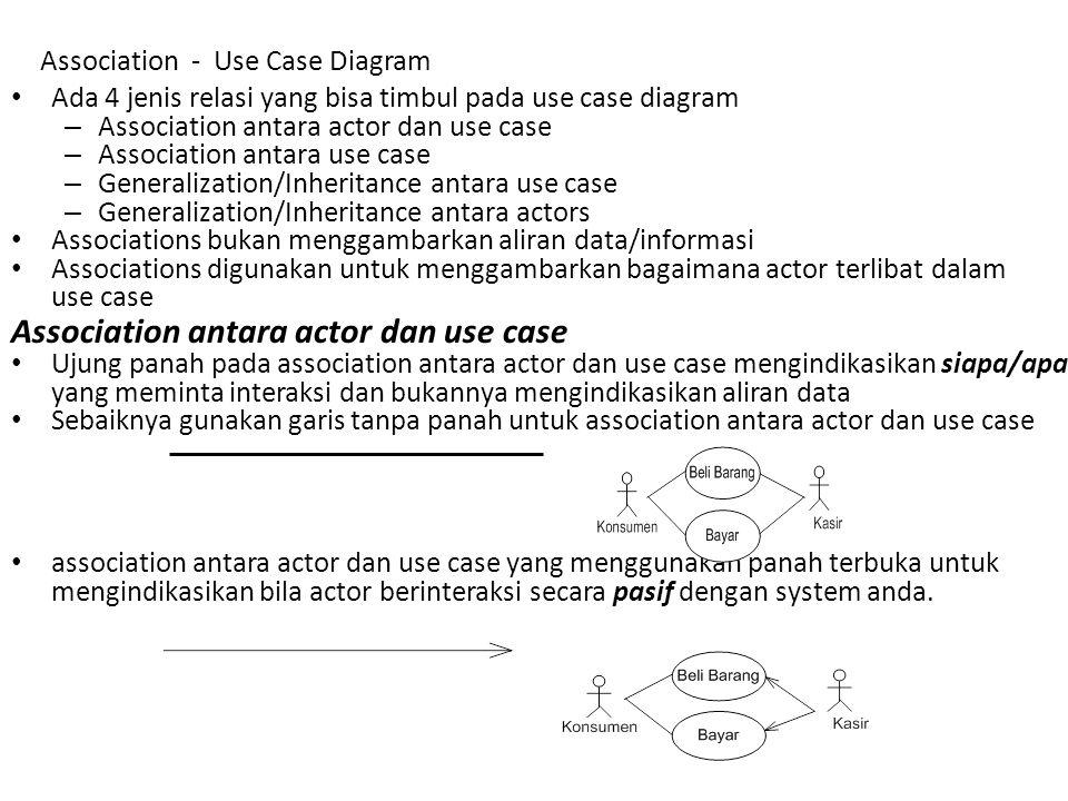 Association antara use case <<include>> –t–termasuk didalam use case lain (required) / (diharuskan) –P–Pemanggilan use case oleh use case lain –c–contohnya adalah Pemanggilan sebuah fungsi program –G–Gambarkan association <<include>> secara horizontal –T–Tanda panah terbuka harus terarah ke sub use case –T–Tidak boleh actor dihubungkan pada use case <<include>> Association - Use Case Diagram <<include>>