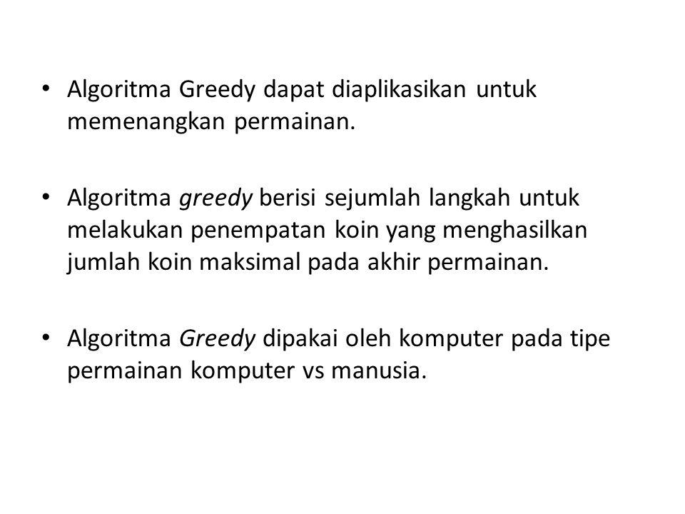 Algoritma Greedy dapat diaplikasikan untuk memenangkan permainan. Algoritma greedy berisi sejumlah langkah untuk melakukan penempatan koin yang mengha