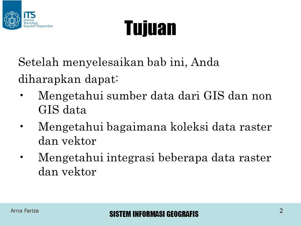 SISTEM INFORMASI GEOGRAFIS Arna Fariza 3 Data pada GIS Mendapatkan data adalah bagian yang penting pada setiap proyek GIS Yang harus diketahui: –Tipe-tipe data yang dapat digunakan untuk GIS –Bagaimana mengevaluasinya –Dimana bisa mendapatkannya –Bagaimana cara membuat sendiri data tersebut