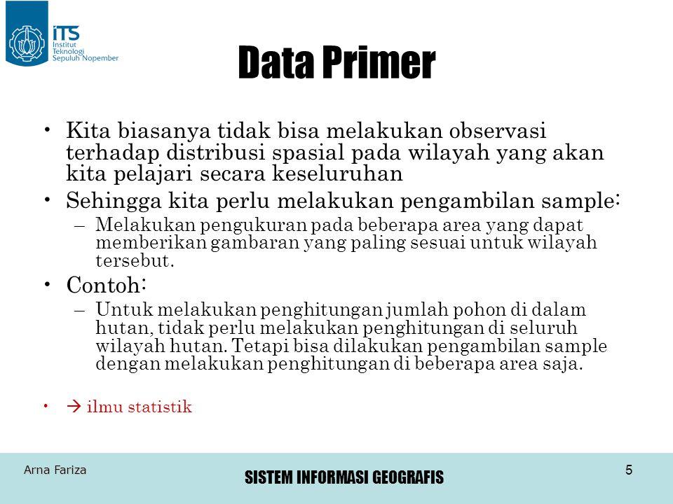 SISTEM INFORMASI GEOGRAFIS Arna Fariza 36 Scanner raster modern mempunyai resolusi sangat tinggi, biasanya menggunakan ukuran piksel 0.025 s/d 0.050 milimeter Fitur linier pada peta raster hasil scanning harus diedit untuk menghapus error dan sebelum konversi ke format vektor Scanning #5