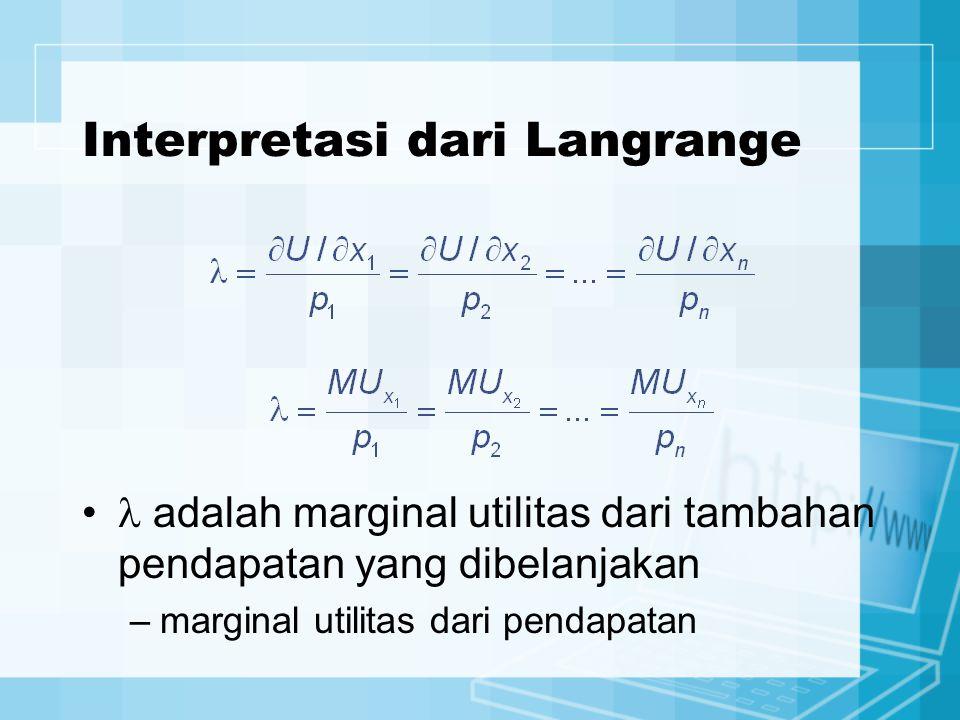 Interpretasi dari Langrange adalah marginal utilitas dari tambahan pendapatan yang dibelanjakan –marginal utilitas dari pendapatan