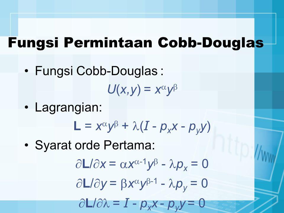 Fungsi Permintaan Cobb-Douglas Fungsi Cobb-Douglas : U(x,y) = x  y  Lagrangian: L = x  y  + ( I - p x x - p y y) Syarat orde Pertama:  L/  x = 