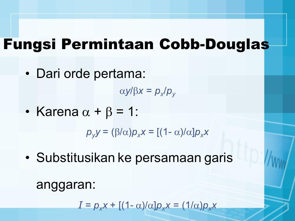 Dari orde pertama:  y/  x = p x /p y Karena  +  = 1: p y y = (  /  )p x x = [(1-  )/  ]p x x Substitusikan ke persamaan garis anggaran: I = p