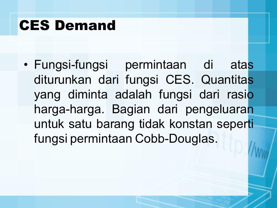 CES Demand Fungsi-fungsi permintaan di atas diturunkan dari fungsi CES. Quantitas yang diminta adalah fungsi dari rasio harga-harga. Bagian dari penge