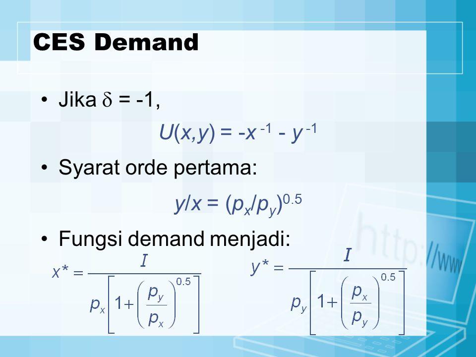 CES Demand Jika  = -1, U(x,y) = -x -1 - y -1 Syarat orde pertama: y/x = (p x /p y ) 0.5 Fungsi demand menjadi: