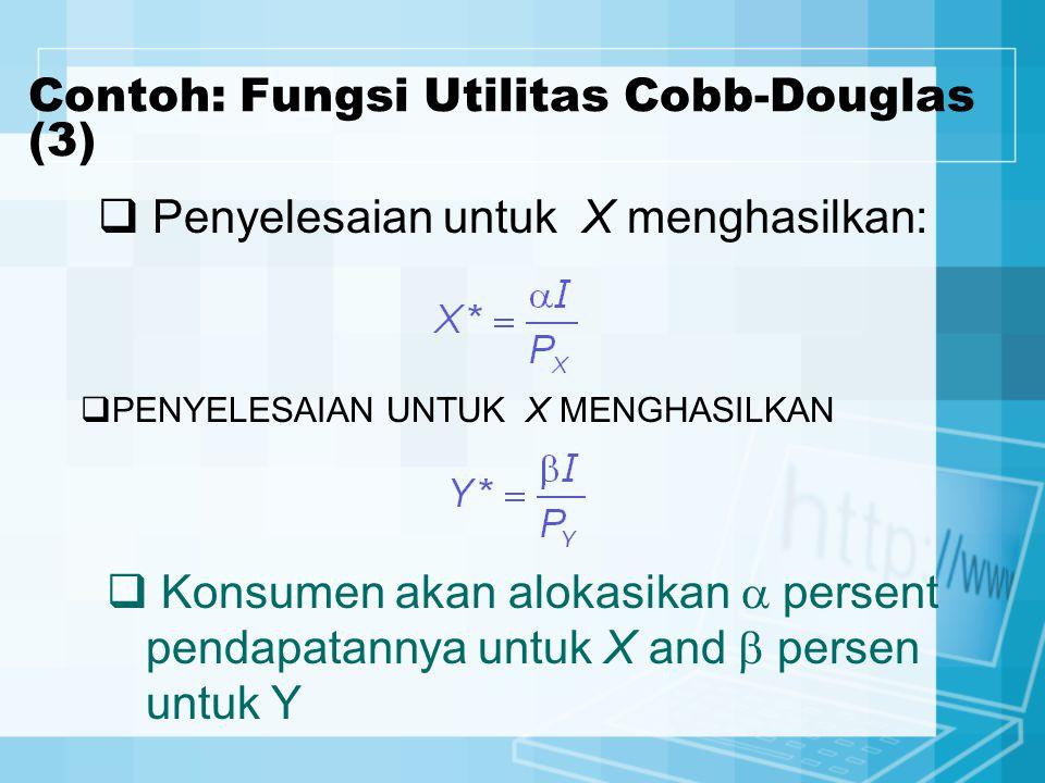 Contoh: Fungsi Utilitas Cobb-Douglas (3)  Penyelesaian untuk X menghasilkan:  Konsumen akan alokasikan  persent pendapatannya untuk X and  persen