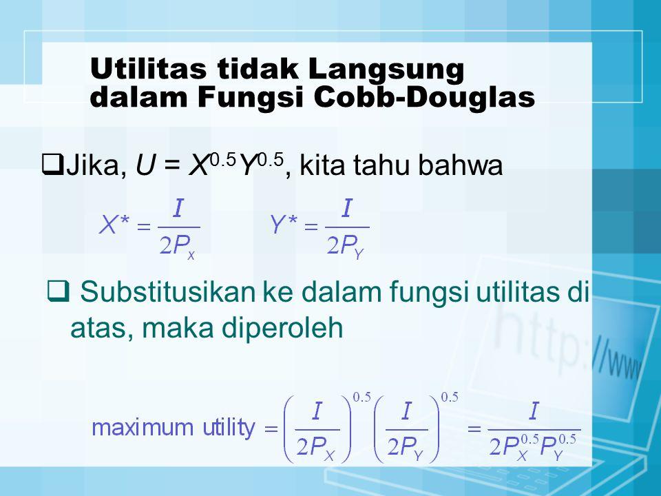 Utilitas tidak Langsung dalam Fungsi Cobb-Douglas  Jika, U = X 0.5 Y 0.5, kita tahu bahwa  Substitusikan ke dalam fungsi utilitas di atas, maka dipe