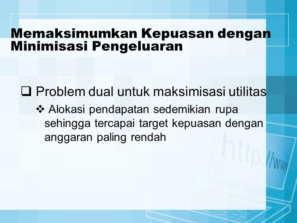 Memaksimumkan Kepuasan dengan Minimisasi Pengeluaran  Problem dual untuk maksimisasi utilitas  Alokasi pendapatan sedemikian rupa sehingga tercapai