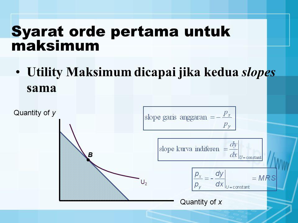 Utility Maksimum dicapai jika kedua slopes sama Quantity of x Quantity of y U2U2 B Syarat orde pertama untuk maksimum