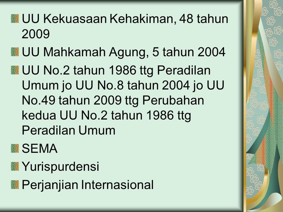 UU Kekuasaan Kehakiman, 48 tahun 2009 UU Mahkamah Agung, 5 tahun 2004 UU No.2 tahun 1986 ttg Peradilan Umum jo UU No.8 tahun 2004 jo UU No.49 tahun 2009 ttg Perubahan kedua UU No.2 tahun 1986 ttg Peradilan Umum SEMA Yurispurdensi Perjanjian Internasional