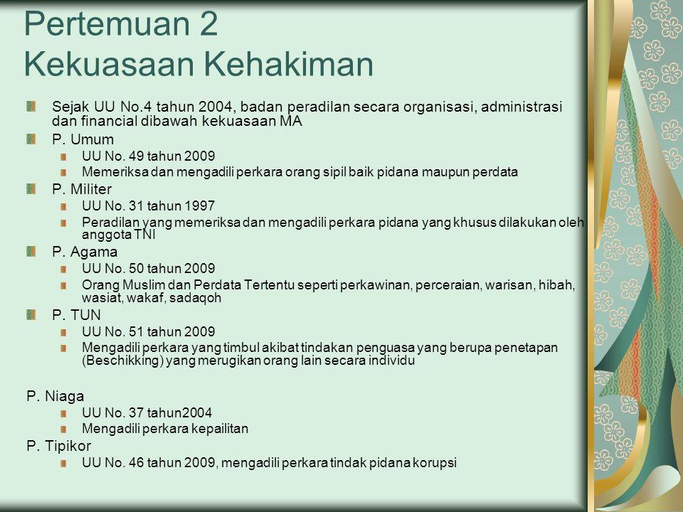 Pertemuan 2 Kekuasaan Kehakiman Sejak UU No.4 tahun 2004, badan peradilan secara organisasi, administrasi dan financial dibawah kekuasaan MA P.