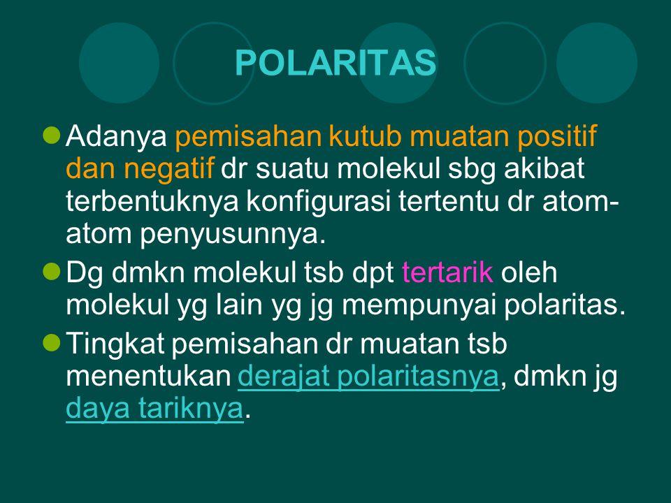 POLARITAS Adanya pemisahan kutub muatan positif dan negatif dr suatu molekul sbg akibat terbentuknya konfigurasi tertentu dr atom- atom penyusunnya. D