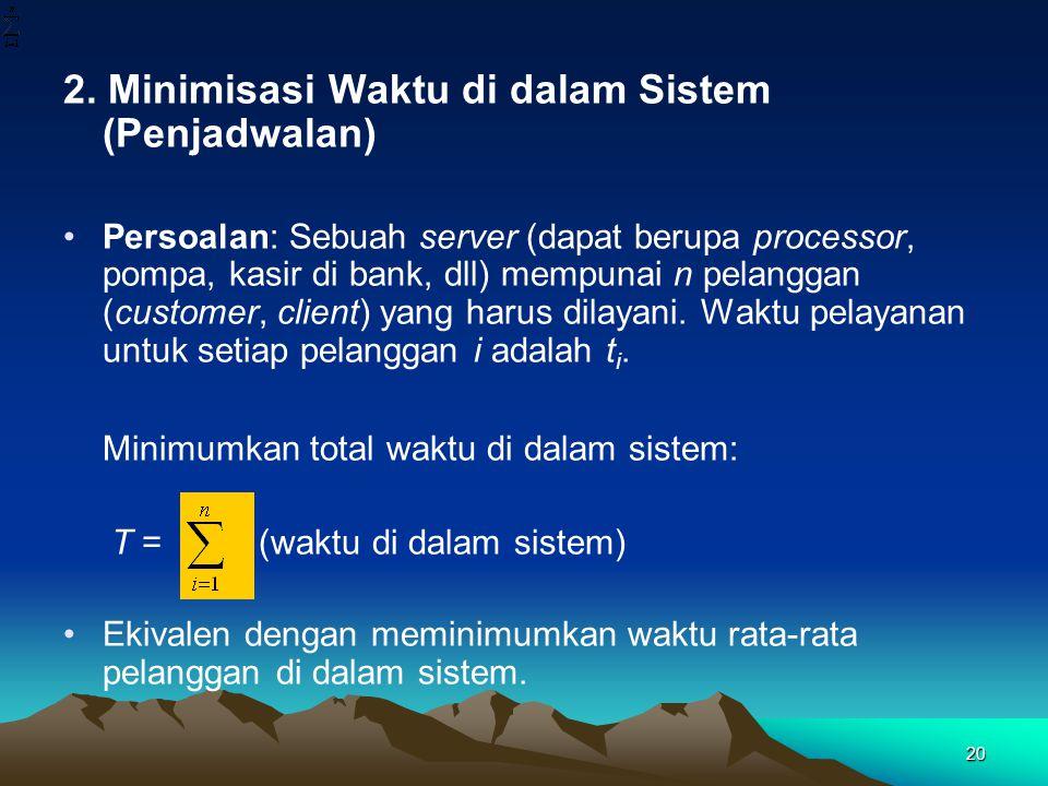 2. Minimisasi Waktu di dalam Sistem (Penjadwalan) Persoalan: Sebuah server (dapat berupa processor, pompa, kasir di bank, dll) mempunai n pelanggan (c