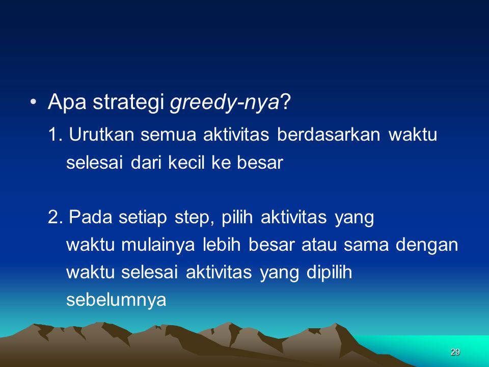 Apa strategi greedy-nya? 1. Urutkan semua aktivitas berdasarkan waktu selesai dari kecil ke besar 2. Pada setiap step, pilih aktivitas yang waktu mula