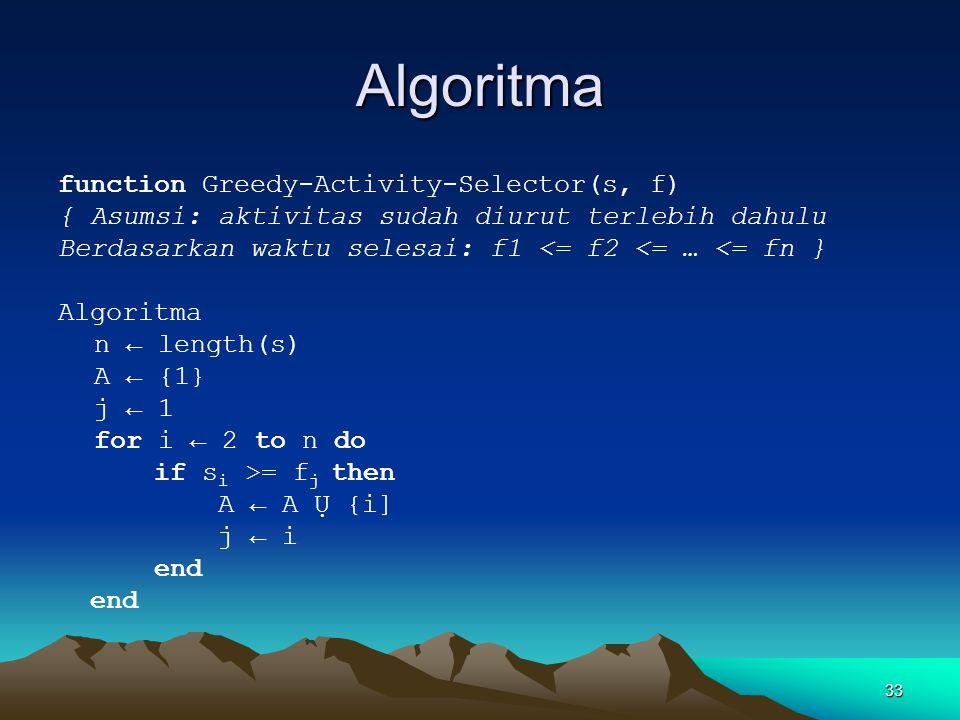 Algoritma function Greedy-Activity-Selector(s, f) { Asumsi: aktivitas sudah diurut terlebih dahulu Berdasarkan waktu selesai: f1 <= f2 <= … <= fn } Al