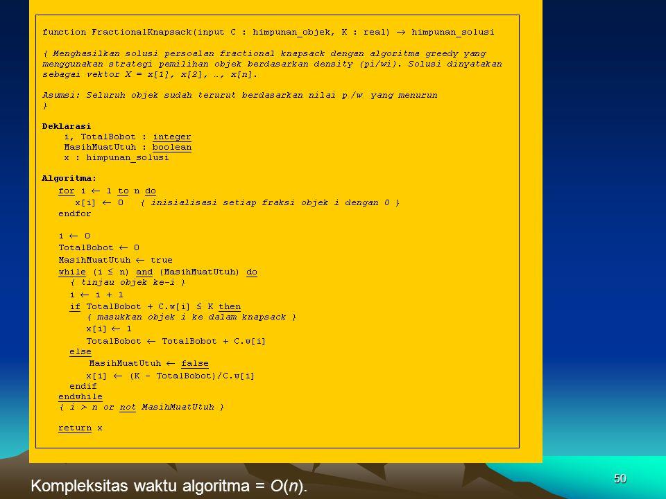 Kompleksitas waktu algoritma = O(n). 50