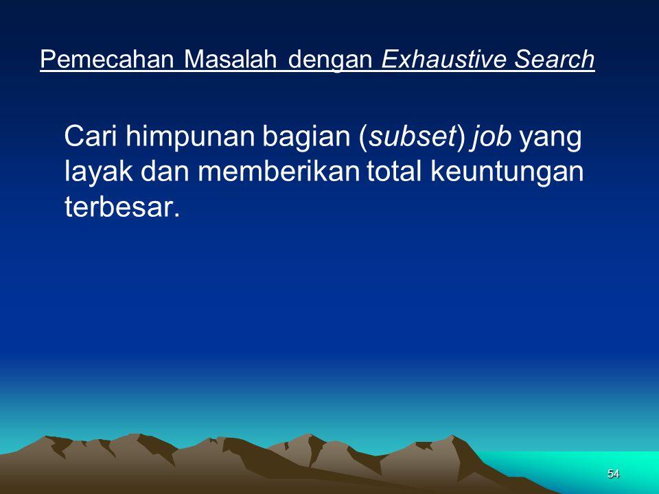54 Pemecahan Masalah dengan Exhaustive Search Cari himpunan bagian (subset) job yang layak dan memberikan total keuntungan terbesar.