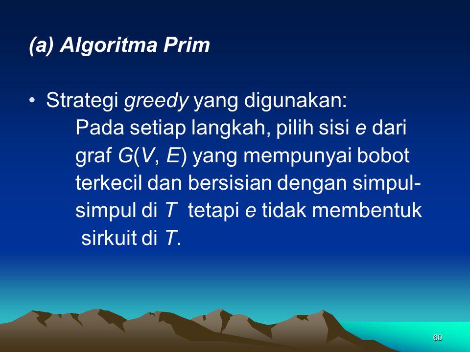 60 (a) Algoritma Prim Strategi greedy yang digunakan: Pada setiap langkah, pilih sisi e dari graf G(V, E) yang mempunyai bobot terkecil dan bersisian