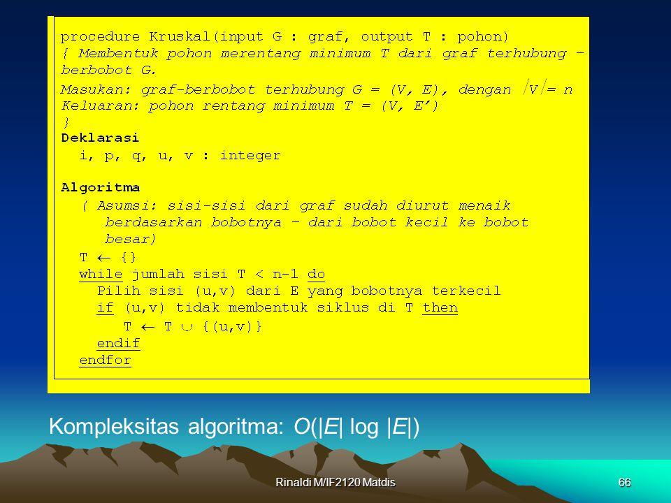 Rinaldi M/IF2120 Matdis66 Kompleksitas algoritma: O(|E| log |E|)