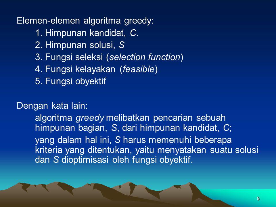 Elemen-elemen algoritma greedy: 1. Himpunan kandidat, C. 2. Himpunan solusi, S 3. Fungsi seleksi (selection function) 4. Fungsi kelayakan (feasible) 5