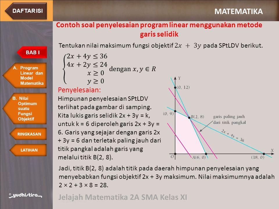 Contoh soal penyelesaian program linear menggunakan metode garis selidik Penyelesaian: Himpunan penyelesaian SPtLDV terlihat pada gambar di samping. K