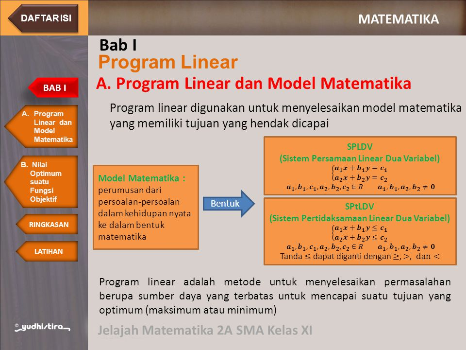 Program linear digunakan untuk menyelesaikan model matematika yang memiliki tujuan yang hendak dicapai A.Program Linear dan Model MatematikaProgram Linear dan Model Matematika BAB I Program Linear Bab I A.