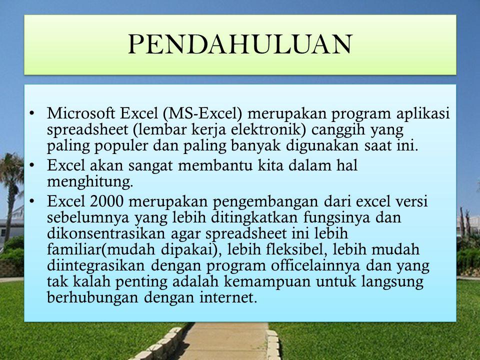 MICROSOFT EXCEL Memulai Excel 2000 Mengenal Elemen Jendela Excel 2000 Mengakhiri Excel 2000 Bekerja Dengan Excel 2000 Mengenal Tipe Data Pada Excel 2000 Menggerakkan Penunjuk Sel (Cell Pointer) Memilih Area Kerja Memasukkan Data Menghapus Data Mengatur Lebar Kolom