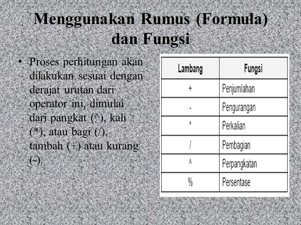 Menggunakan Rumus (Formula) dan Fungsi Proses perhitungan akan dilakukan sesuai dengan derajat urutan dari operator ini, dimulai dari pangkat (^), kal