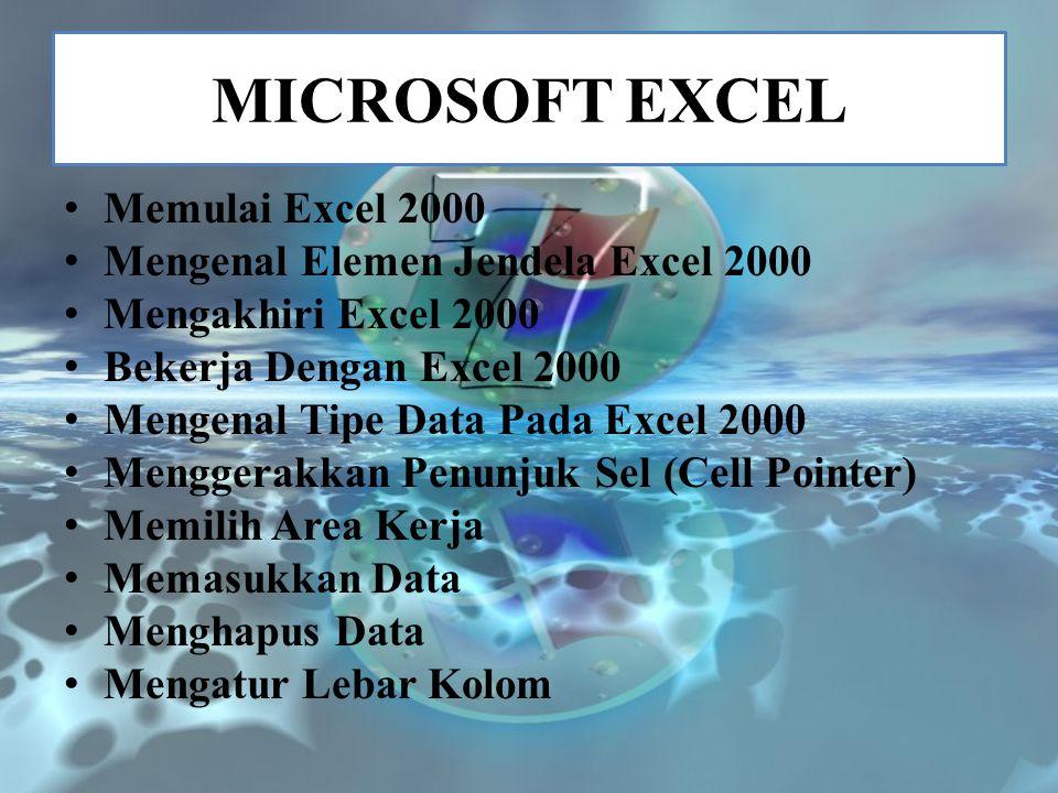 MICROSOFT EXCEL Memulai Excel 2000 Mengenal Elemen Jendela Excel 2000 Mengakhiri Excel 2000 Bekerja Dengan Excel 2000 Mengenal Tipe Data Pada Excel 20