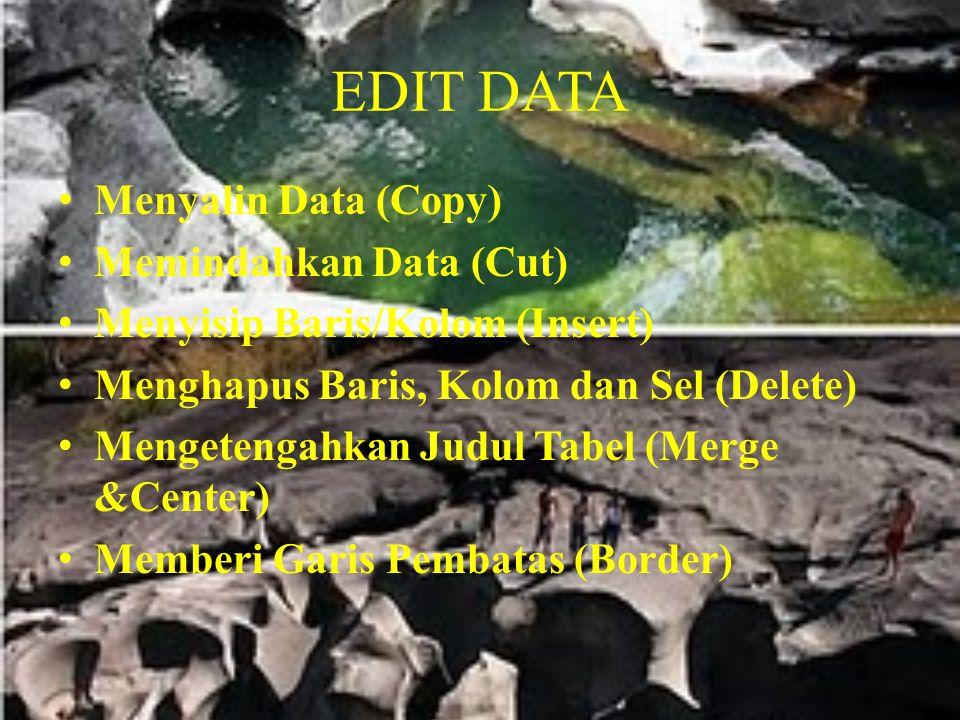 EDIT DATA Menyalin Data (Copy) Memindahkan Data (Cut) Menyisip Baris/Kolom (Insert) Menghapus Baris, Kolom dan Sel (Delete) Mengetengahkan Judul Tabel